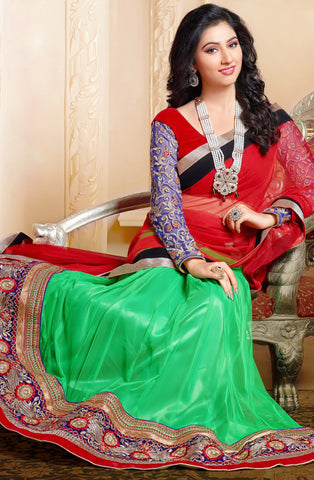 Disha Parmar Lehenga Collection:atisundar Beautiful Velvet  Lehenga in Red - 6833 - atisundar - 5