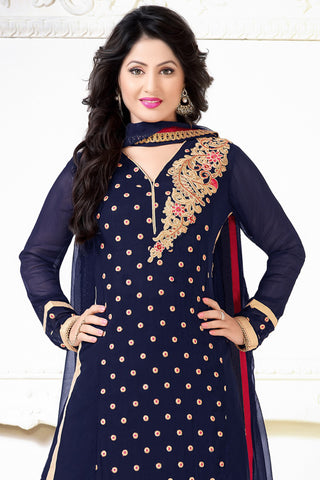 Designer Straight Cut:atisundar charming Dark Blue  Designer Embroidered Straight Cut - 10603 - atisundar - 2