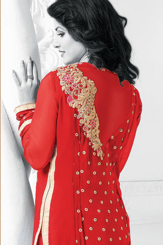 Designer Straight Cut:atisundar excellent Red Designer Embroidered Straight Cut - 10604 - atisundar - 3