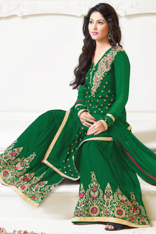 Designer Straight Cut:atisundar enticing Green Designer Embroidered Straight Cut - 10606 - atisundar - 3