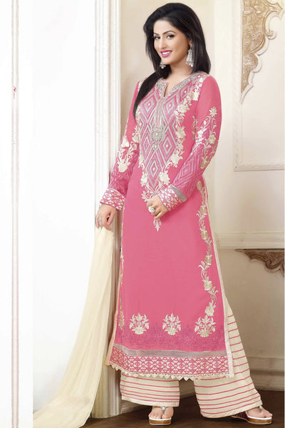 Designer Straight Cut:atisundar fascinating Pink Designer Party Wear Straight Cut - 12890 - click to zoom