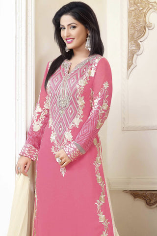 Designer Straight Cut:atisundar fascinating Pink Designer Party Wear Straight Cut - 12890