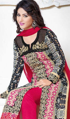 The Heena Khan Collection:atisundar ravishing Black And Pink Designer Embroidered Straight Cut Suit Featuring Heena Khan - 10220 - atisundar - 2