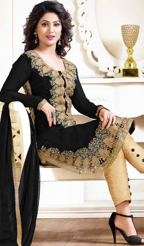 The Heena Khan Collection:atisundar wonderful Black Designer Embroidered Straight Cut Suit Featuring Heena Khan - 10221 - atisundar - 3
