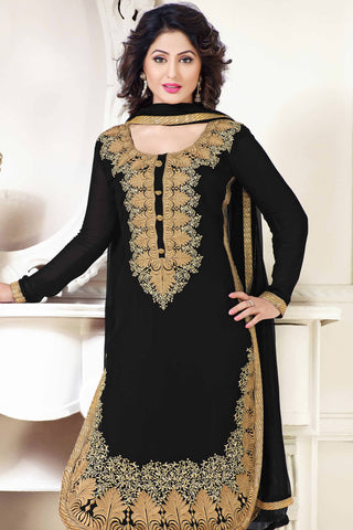 Designer Straight Cut:atisundar comely Black Designer Party Wear Straight Cut - 12891