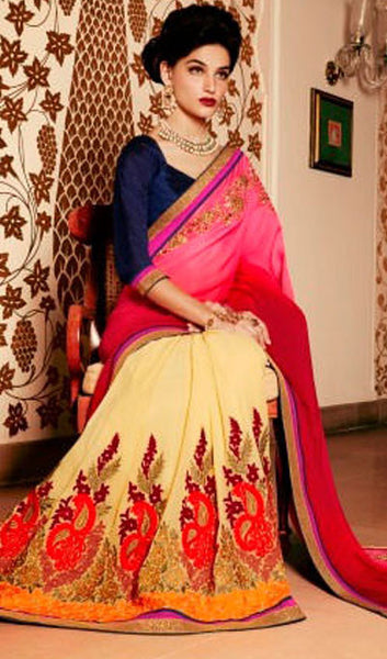 Designer Embroidered Saree:atisundar bewitching Designer Embroidery Saree in Pink  - 8591 - atisundar - 1 - click to zoom
