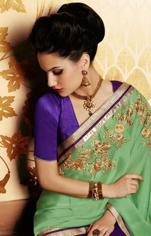 Designer Embroidered Saree:atisundar wonderful Designer Embroidery Saree in Green  - 8599 - atisundar - 3