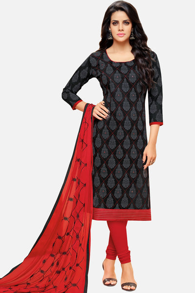 Exclusive Chanderi Cotton With Mirror Work And Embroidered Dupatta:atisundar Superb Black Embroidered Straight Cut in Chanderi - 15198 - click to zoom