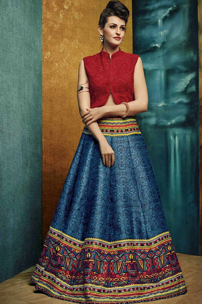 Designer Lehenga:atisundar delicate Banglori Silk Designer Party Wear Lehenga in Red - 12817 - click to zoom