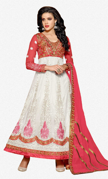 Designer Embroidered Anarkali:atisundar classy Pink And White embroidered Party Wear Anarkali - 6684 - atisundar - 2 - click to zoom