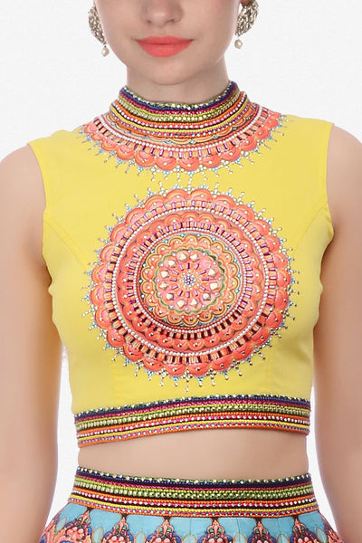 Designer Lehenga:atisundar pretty Net Designer Party Wear Lehenga in Yellow - 12819 - click to zoom