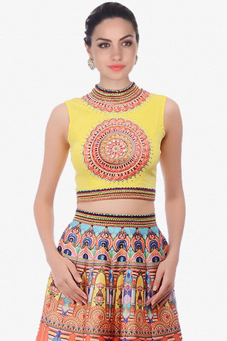 Designer Lehenga:atisundar pretty Net Designer Party Wear Lehenga in Yellow - 12819