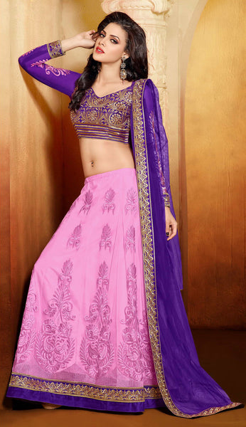Designer Embroidered Anarkali:atisundar splendid Blue And Pink embroidered Party Wear Anarkali - 6686 - atisundar - 4 - click to zoom