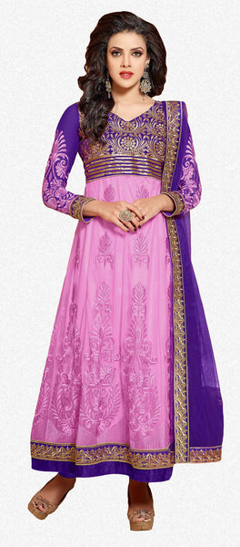 Designer Embroidered Anarkali:atisundar splendid Blue And Pink embroidered Party Wear Anarkali - 6686 - atisundar - 2 - click to zoom