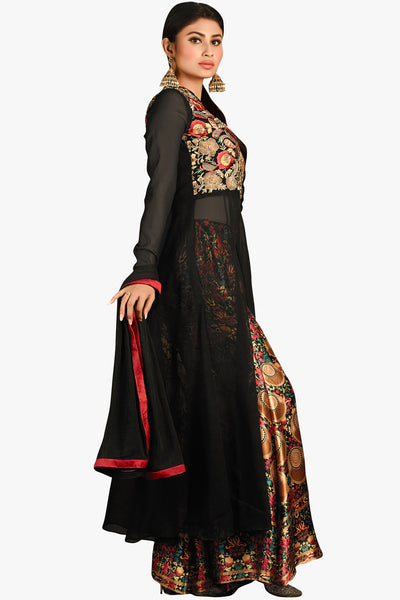 Designer Straight Cut:atisundar fascinating Black Designer Embroidered Straight Cut in Faux Georgette Featuring Mouni Roy - 11740 - click to zoom