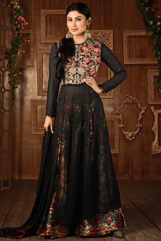 Designer Straight Cut:atisundar fascinating Black Designer Embroidered Straight Cut in Faux Georgette Featuring Mouni Roy - 11740 - atisundar - 3 - click to zoom