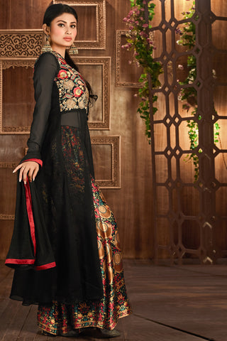 Designer Straight Cut:atisundar fascinating Black Designer Embroidered Straight Cut in Faux Georgette Featuring Mouni Roy - 11740 - atisundar - 4 - click to zoom