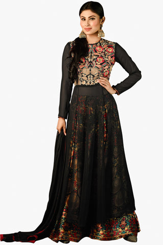 Designer Straight Cut:atisundar fascinating Black Designer Embroidered Straight Cut in Faux Georgette Featuring Mouni Roy - 11740 - atisundar - 1 - click to zoom