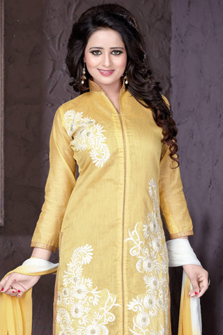Designer Straight Cut:atisundar graceful Yellow Designer Party Wear Straight Cut - 13186