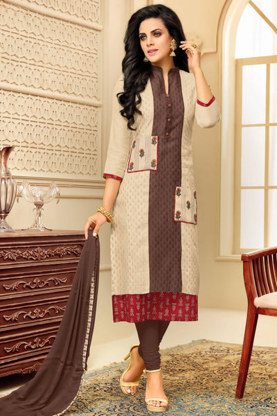 Designer Straight Cut:atisundar radiant Cream And Brown Designer Party Wear Straight Cut  - 14300 - click to zoom
