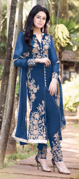Designer Straight Cut!:atisundar ravishing Blue Designer Straight Cut  - 7628 - atisundar - 2 - click to zoom