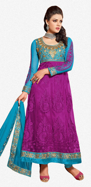 Designer Embroidered Anarkali:atisundar marvelous Blue And Purple embroidered Party Wear Anarkali - 6691 - atisundar - 2 - click to zoom