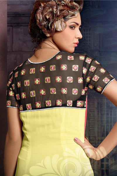Designer Tops:atisundar beauteous Faux Georgette Designer Tops in Yellow And Peach - 9347 - click to zoom