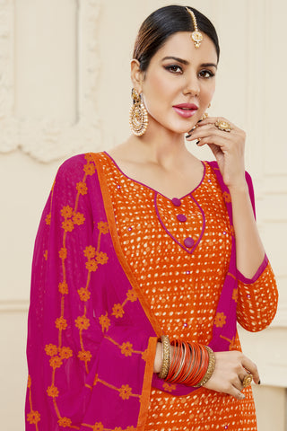 Designer Printed Straight Cut Suits With Mirror Work:atisundar Beautiful Orange Designer Embroidered Party Wear Straight Cut - 14629