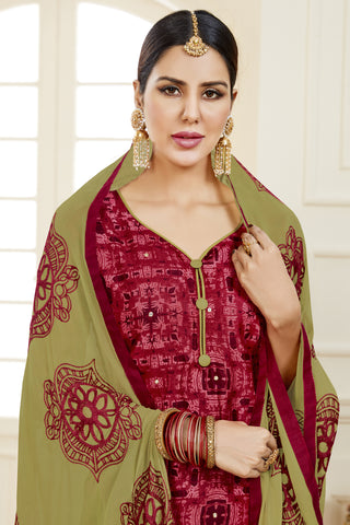 Designer Printed Straight Cut Suits With Mirror Work:atisundar Charismatic Red Designer Embroidered Party Wear Straight Cut - 14631