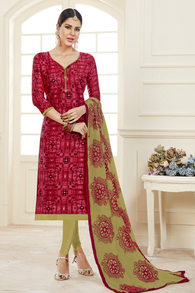 Designer Printed Straight Cut Suits With Mirror Work:atisundar Charismatic Red Designer Embroidered Party Wear Straight Cut - 14631 - click to zoom