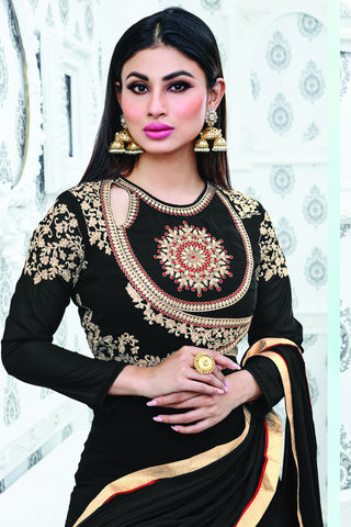 Designer Anarkali:atisundar graceful Black Designer Party Wear Embroidered Anarkali Featuring Mouni Roy - 12524 - atisundar - 6