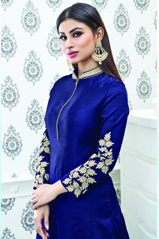 Designer Anarkali:atisundar Superb Blue Designer Party Wear Embroidered Anarkali Featuring Mouni Roy - 12527 - atisundar - 6
