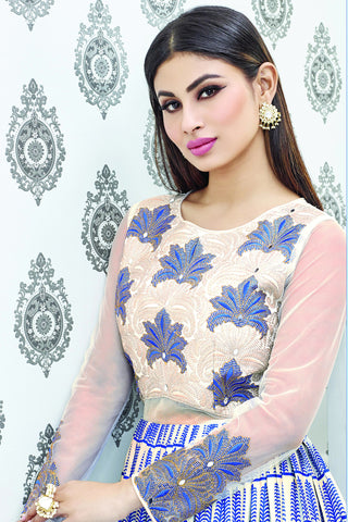 Designer Anarkali:atisundar gorgeous White Designer Party Wear Embroidered Anarkali Featuring Mouni Roy - 12528 - atisundar - 6