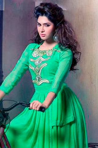 Designer Tops:atisundar superb Faux Georgette Designer Tops in Sea Green - 9349