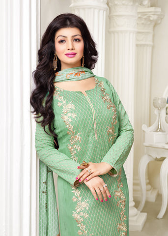Designer Embroidered Straight Cut Suit:atisundar delicate Green Designer Straight Cut Embroidered Suits - 8955 - atisundar - 3