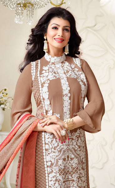 Designer Embroidered Straight Cut Suit:atisundar cute Brown Designer Straight Cut Embroidered Suits - 8957 - atisundar - 3 - click to zoom