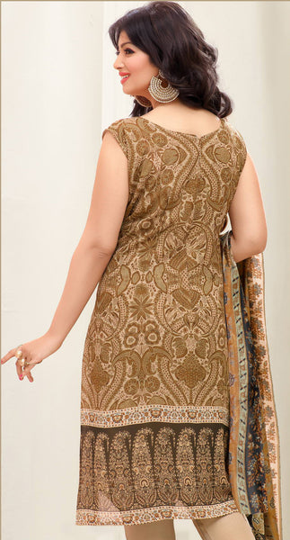 Designer Embroidered Straight Cut Suit:atisundar charming Beige Designer Straight Cut Embroidered Suits - 8960 - atisundar - 4 - click to zoom