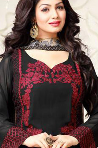 Designer Embroidered Straight Cut Suit:atisundar Great Black Designer Straight Cut Embroidered Suits - 8961 - click to zoom