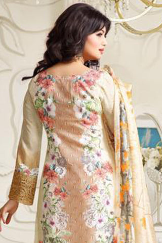 Designer Embroidered Straight Cut Suit:atisundar Superb Cream Designer Straight Cut Embroidered Suits - 8962