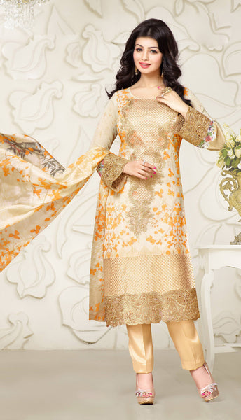 Designer Embroidered Straight Cut Suit:atisundar Superb Cream Designer Straight Cut Embroidered Suits - 8962 - atisundar - 2 - click to zoom