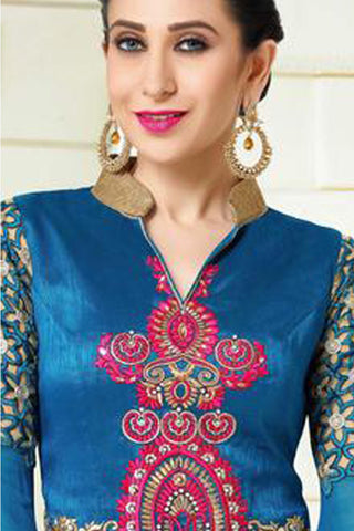 Designer Embroidered Anarkali and Straight Cut Suit:atisundar beauteous Blue And Grey Designer Embroidered Suits - 9112