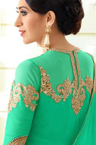Designer Embroidered Anarkali and Straight Cut Suit:atisundar Lovely Green Designer Embroidered Suits - 9116