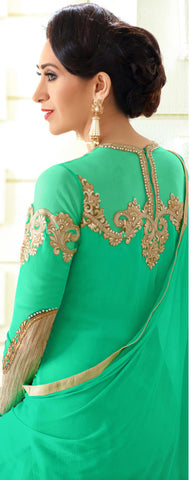 Designer Embroidered Anarkali and Straight Cut Suit:atisundar Lovely Green Designer Embroidered Suits - 9116 - atisundar - 3 - click to zoom