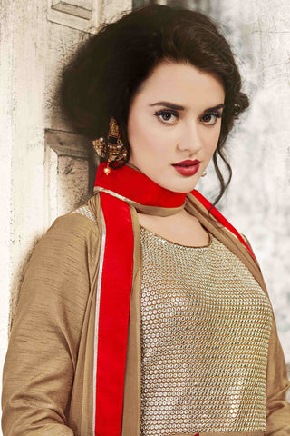 Designer Anarkali:atisundar Lovely Brown Designer Party Wear Anarkali - 13547