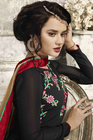 Designer Anarkali:atisundar Lovely Black Designer Party Wear Anarkali - 13548