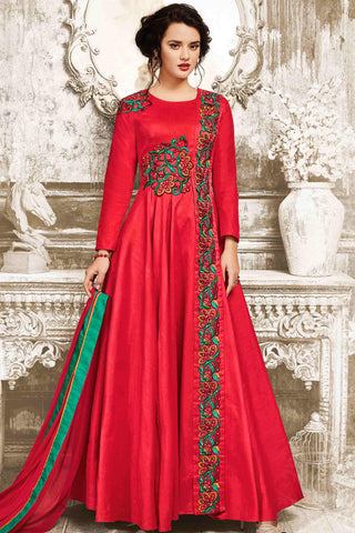 Designer Anarkali:atisundar Lovely Red Designer Party Wear Anarkali - 13549
