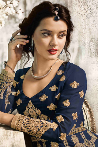 Designer Anarkali:atisundar admirable Blue Designer Party Wear Anarkali - 13550