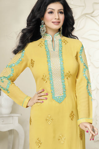 Designer Straight Cut:atisundar pretty Yellow Designer Straight Cut  - 11871 - atisundar - 4