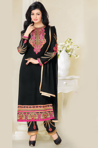 Designer Straight Cut:atisundar Smart Black Designer Embroidered Straight Cut - 10600 - atisundar - 2