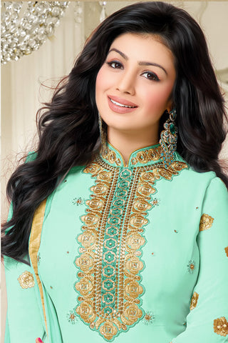 Designer Straight Cut:atisundar radiant Light Sea Green Designer Embroidered Straight Cut - 10601 - atisundar - 2 - click to zoom